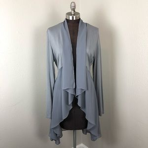 LOGO Lounge Grey Chiffon High-Low Tie Cardigan